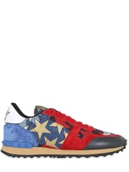Valentino Camouflage Stars Denim And Suede Sneakers