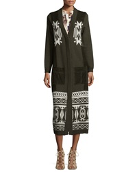 Haute Hippie Jacquard Long Coat W Suede Pockets Military