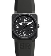 Bell And Ross Br0392 Bl Ce Heritage Aviation Ceramic Leather Watch Black