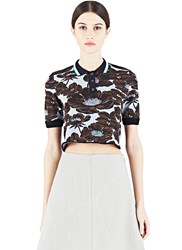 Marni Cropped Floral Jacquard Polo Shirt Blue