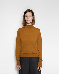 Margaret Howell Buttoned Roll Neck Sweater Ochre