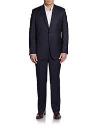 Saks Fifth Avenue Black Classic Fit Finestriped Wool And Silk Suit Navy