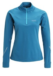 Gore Running Wear Essential Thermo Long Sleeved Top Ink Blue Scuba Blue Turquoise