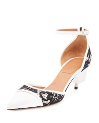 Givenchy Lace And Leather Screw Heel Pump Black White