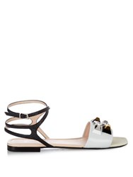 Fendi Rainbow Stud Embellished Leather Sandals White Black