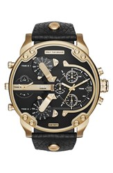 Men's Diesel 'Mr. Daddy 2.0' Chronograph Leather Strap Watch 57Mm Black Gold Black