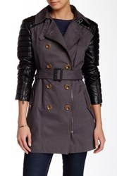 Quilted Faux Leather Accent Trench Gray
