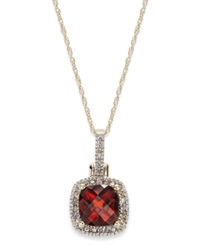 Macy's 10K Gold Garnet 1 3 4 Ct. T.W. And Diamond Accent Pendant Necklace