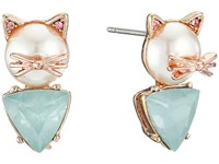 Betsey Johnson Pearl Critters Cat Stud Earrings Pearl Earring White