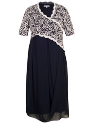 Chesca Embroidered Scallop Dress Navy Ivory