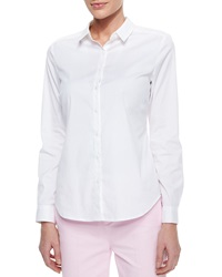 Nydj Long Sleeve Cotton Stretch Button Front Shirt X