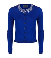 Boutique Moschino Beaded Necklace Cardigan Female Blue