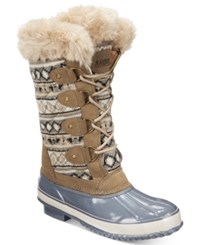 Khombu Women's Melanie Lace Up Faux Fur Boots Women's Shoes Tan