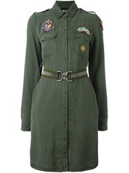 Just Cavalli Patched Military Dress Green