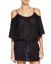 Becca By Rebecca Virtue Belly Dancer Gauze Tunic Swim Cover Up Black