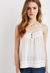 Forever 21 Embroidered Y Back Cami Cream