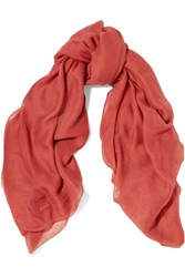 M Missoni Frayed Modal And Cashmere Blend Scarf Red