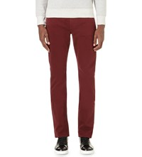 Paige Federal Slim Fit Tapered Cotton Jeans Dk Burgundy