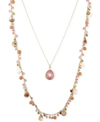 Lonna And Lilly Gold Tone Shaky Two Layer Pendant Necklace