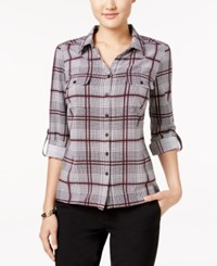 Ny Collection Petite Plaid Utility Shirt Wine Snappy