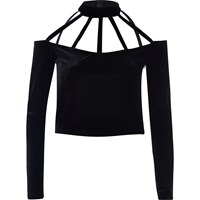 River Island Womens Black Velvet Choker Crop Top