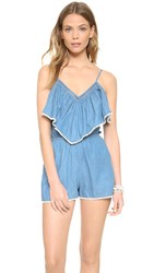 6 Shore Road Overlay Picnic Romper Blue Chambray