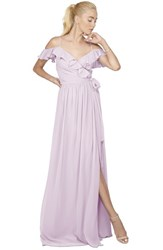 Women's Ceremony By Joanna August 'Portia' Off The Shoulder Ruffle Wrap Chiffon Gown Lilac