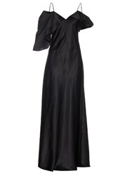 Saint Laurent Ruffle Sleeve Silk Satin Gown Black