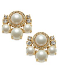 Kate Spade New York Rose Gold Tone Imitation Pearl And Crystal Cluster Earrings
