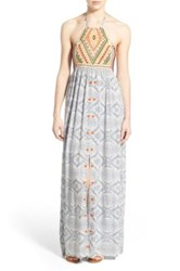 Rip Curl 'Mayan Sun' Embroidered Halter Maxi Dress