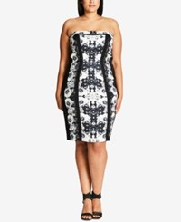 City Chic Trendy Plus Size Printed Strapless Sheath Dress Black