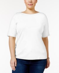 Charter Club Plus Size Boat Neck T Shirt Only At Macy's Bright White