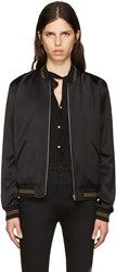 Saint Laurent Black Teddy Baseball Bomber Jacket