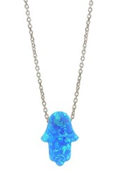 Gab Cos Designs Sterling Silver Blue Opal Hamsa Pendant Necklace