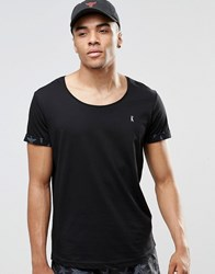 Ringspun Scoop Neck Beach T Shirt With Roll Cuffs Co Ord Black Navy