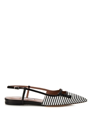 Tabitha Simmons Dilly Striped Silk And Leather Flats