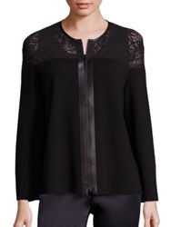 Lafayette 148 New York Lace Trim Wool Cardigan Black
