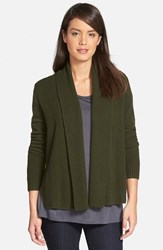 Women's Nordstrom Collection Cashmere Shawl Collar Cardigan Green Wood