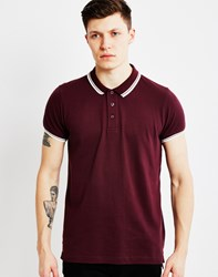 The Idle Man Polo Pique Shirt Burgundy Purple