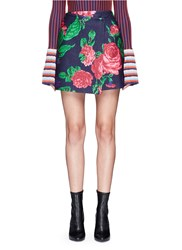 Msgm Floral Print Felted Wool Blend Wrap Skirt Multi Colour