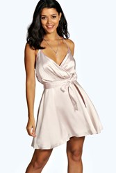 Boohoo Strappy Fit And Flare Drape Back Dress Silver
