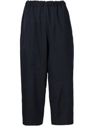 Comme Des Gara Ons Elastic Waistband Cropped Trousers Blue