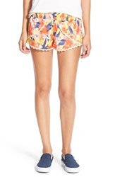 Junior Women's Rip Curl 'Tropic Wind' Print Tulip Shorts Mustard