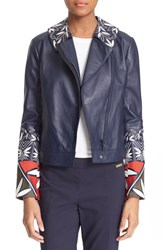 Women's Tory Burch Embroidered Leather Moto Jacket Tory Navy