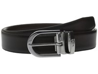 Tumi Classic Horseshoe Reversible Dress Belt Nickel Satin Reversible Men's Belts Black