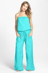 Women's Hard Tail Strapless Shelf Bra Jumpsuit Scuba Light Aqua