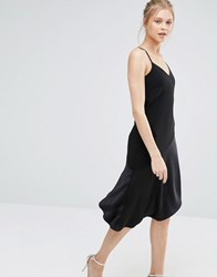 Oasis Asymmetric Midi Dress Black