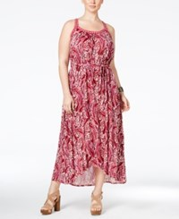 Lucky Brand Plus Size Paisley Print Belted Maxi Dress Pink Multi
