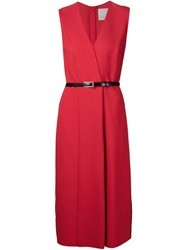 Jason Wu V Neck Wrap Dress Red