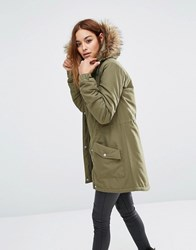 Noisy May Festival Faux Fur Parka Ivy Green
